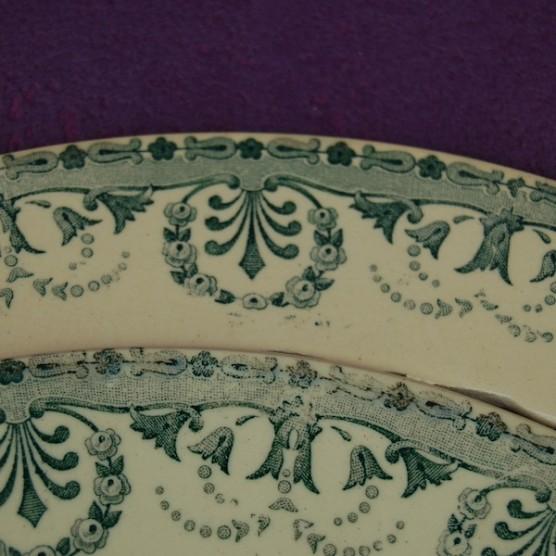 bordure assiette faience ancienne d coup e vieux vert choisy le roi. Black Bedroom Furniture Sets. Home Design Ideas